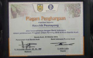 Piagam Penghargaan Atas Kerjasama dengan Bank Indonesia dalam pelaksanaan Program Urban Farming 2018 Kota Banda Aceh